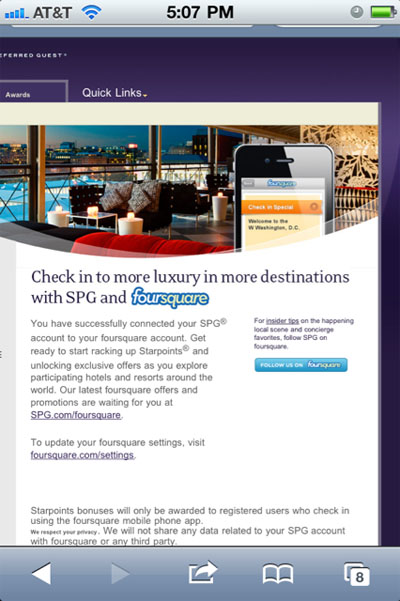 starwood-foursquare-connect