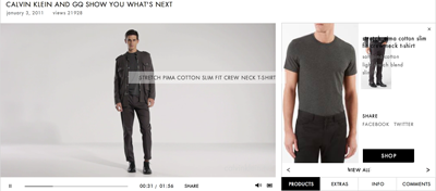 Calvin Klein has used shoppable videos on its Web site