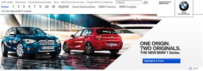 BMW's international homepage