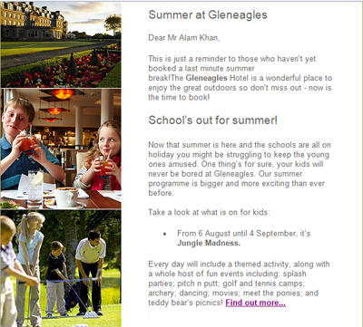 Gleneagles summer vacation email