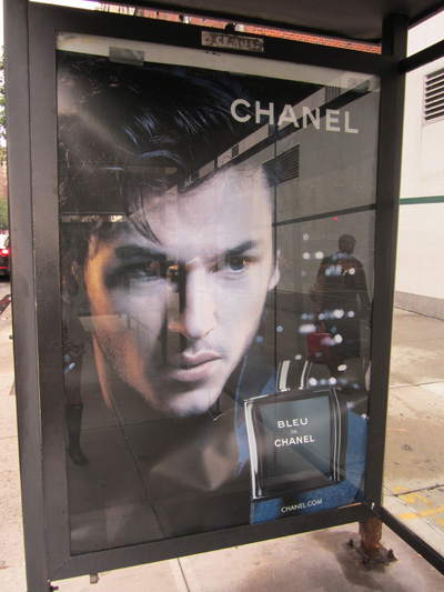 Blue de Chanel on an Upper East Side bus stop