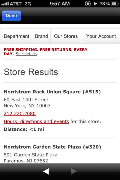 Nordstrom aims for in-store draw with location-based mobile ads