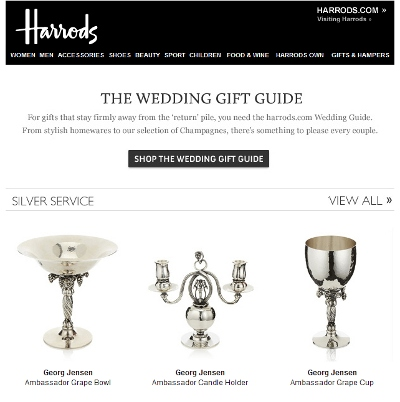 Wedding Gift Guide : Harrodswedding gift guide email