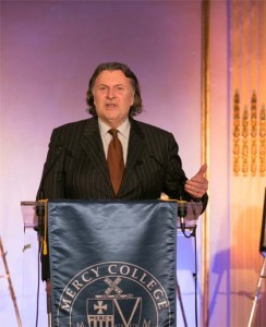 Luxury Marketing Council's Greg Furman at New York's Mercy College during a ceremony honoring his work