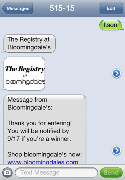 A text from Bloomingdale's Registry. File photo
