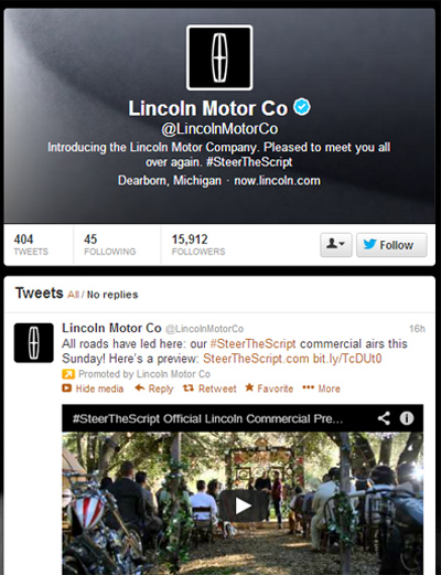 Lincoln contines rebranding efforts with twitter driven for The lincoln motor company