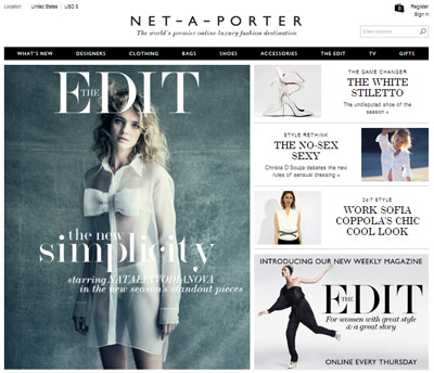 Net a porter asserts style authority via weekly shoppable for Net a porter