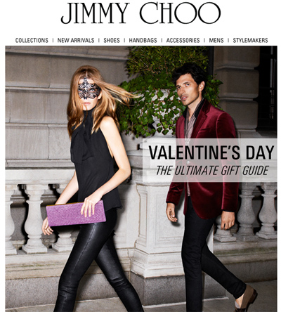 jimmy choo valentines day Valentines Gift Guides: Luxury Retailers & Discounters Promote Gifts