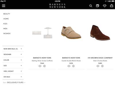 Barneys app ecommerce