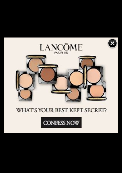 Lancome Vanity Fair mobile ad Dual Finish pop up
