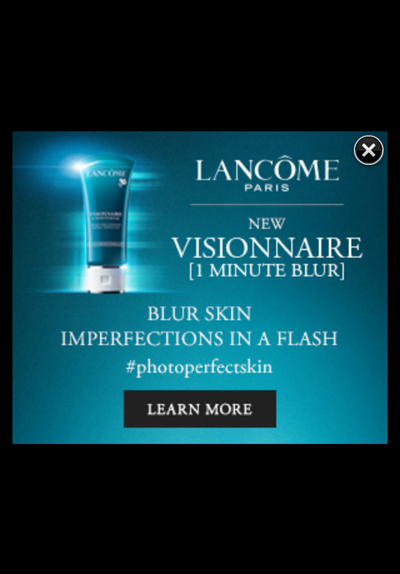 Lancome Vanity Fair mobile ad Minute Blur pop-up