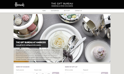 Harrods Gift Bureau microsite