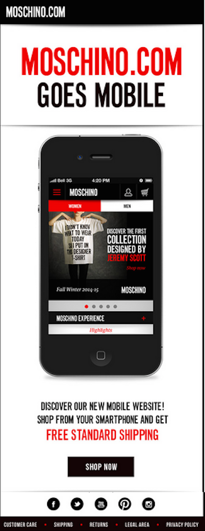 Moschino Mobile site email