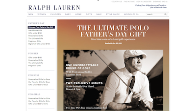 Ralph Lauren Father's Day Gold ecommerce