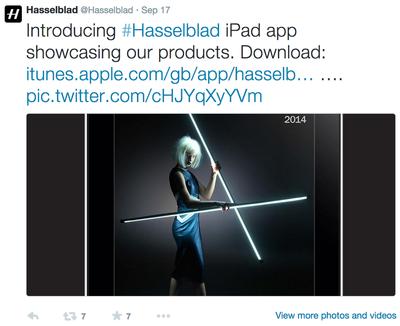 hasselblad.catalog app tweet