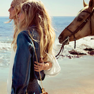 Models Caroline Trentini and Eniko Mihalik in the Chloé spring/summer '15 campaign