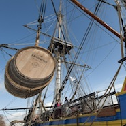 Hennessy cognac barrel being loaded onto the Hermione