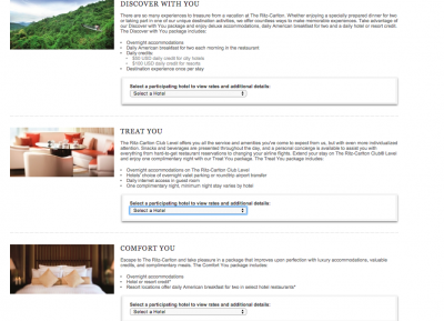 "Ritz-Carlton ""offers"" page"