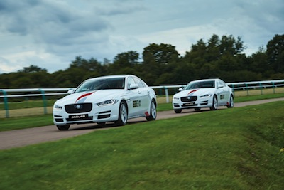 Jaguar XE models used during the driver safety course
