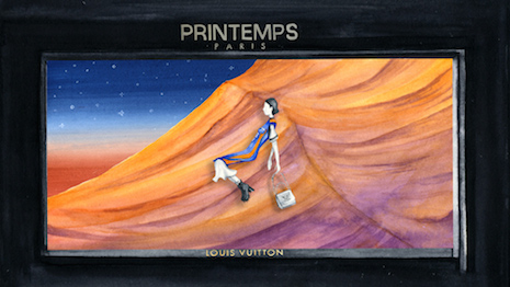 Rendering of Louis Vuitton's window display for Printemps