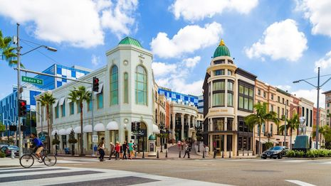 The famed Rodeo Drive in Los Angeles' Beverly Hills area