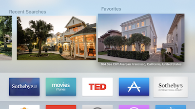 Sotheby's Apple TV homepage