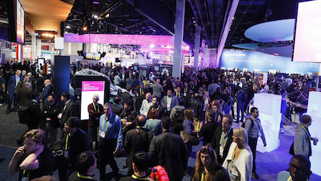 Attendees explore the show floor on CES opening day, Jan. 5