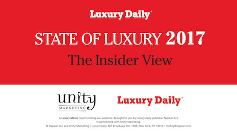 Luxury Daily's State of Luxury 2017: The Insider View, a report produced in conjunction with Unity Marketing